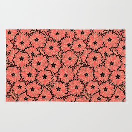 Salmon black floral retro Rug