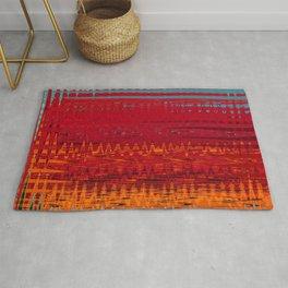 Warm red & turquoise Floor Pattern Art Rug