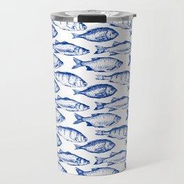 Dark Blue Fish Travel Mug