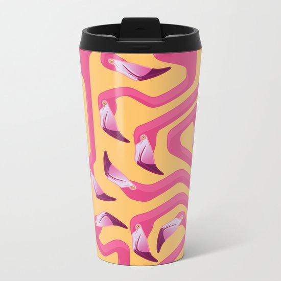 Flamingo Maze Metal Travel Mug