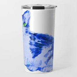 Feline Blue, Cat print Travel Mug
