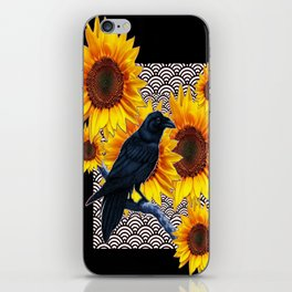 Modern Art Black Crows Sunflowers Pattern Design iPhone Skin