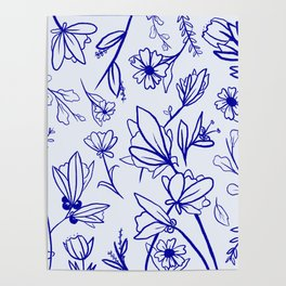 Floral Blue Moss Poster