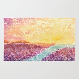 Magical Sunset Watercolor Illustration Rug