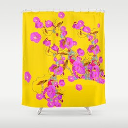 Pink Morning Glories on Gold Art Design Shower Curtain