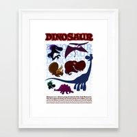 cartoons Framed Art Prints featuring Dinosaur Cartoons by Cartoonasaurus