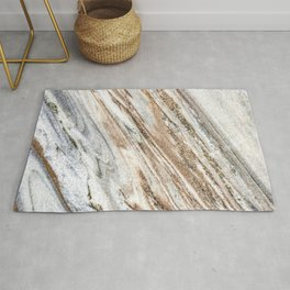 Marble Slab Texture // Gold Silver Black Gray White Stripes Luxury Rugged Rustic Rock Rug