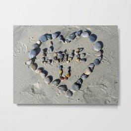 I Love You in Beach Stones Metal Print