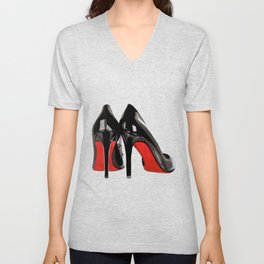 Pigalle Loubs pumps shoes black fashion illustration Unisex V-Neck