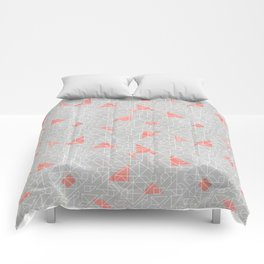 Tangram peach and silver line Comforters