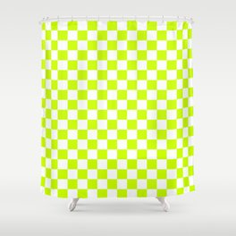 Small Checkered - White and Fluorescent Yellow Shower Curtain