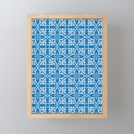 Ethic tile pattern 1 blue Framed Mini Art Print