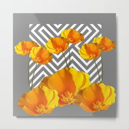 YELLOW CALIFORNIA POPPIES MODERN GREY PATTERNS Metal Print