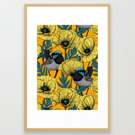 Fairy wren and poppies in yellow Framed Art Print