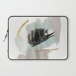 From a Distance - a minimal acrylic and ink abstract piece in blue, black, and tan Laptop Sleeve