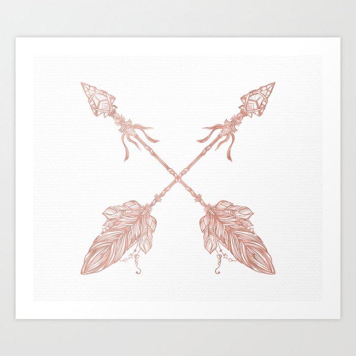 Tribal Arrows Rose Gold on White Art Print
