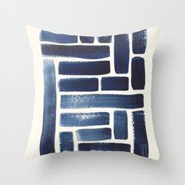 Blue Strokes Pattern Throw Pillow