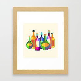 Colored Glass Bottles Framed Art Print