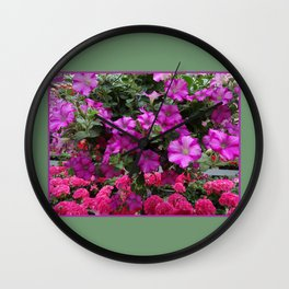 Pink Flowers on Green Wall Clock