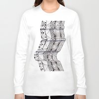 zentangle Long Sleeve T-shirts featuring Zentangle Architectural Molding by Vermont Greetings