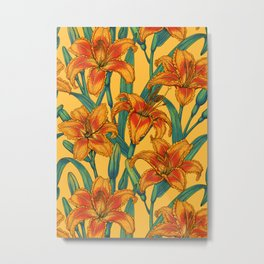 Tawny daylily flowers, blue and yellow Metal Print