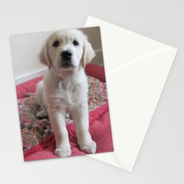 Golden Retriever Puppy on a Patchwork Bed Stationery Cards
