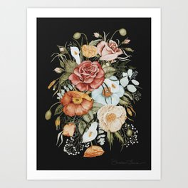 Roses and Poppies Bouquet on Charcoal Black Art Print