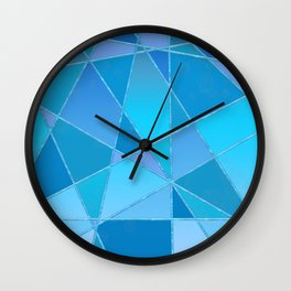 Geometric shapes in blue gradient Wall Clock