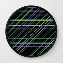 Minimalist Purple and Green Geometric Criss Cross Lines on Black Background Wall Clock