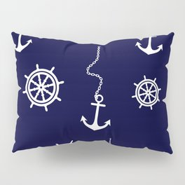 Nautical Navy Pattern with Anchors and Steering Wheels Pillow Sham