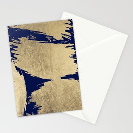 Artistic navy blue gold abstract brush strokes Stationery Cards