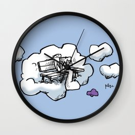 Cloud Bench for Squirrels Wall Clock