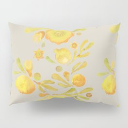 Granada Floral in Yellow on grey Pillow Sham