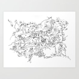 Very detailled surrealism sketchy doodle ink drawing Art Print