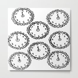 Tick Tock Clocks Metal Print