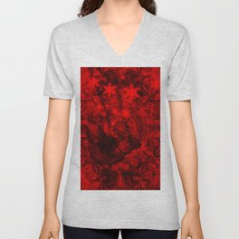 Butterfly and fractal in black and blood red Unisex V-Neck