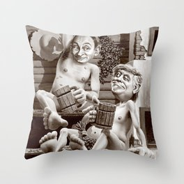 Putin and Trump in the Russian bath Throw Pillow