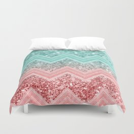 Summer Vibes Glitter Chevron #1 #coral #mint #shiny #decor #art #society6 Duvet Cover