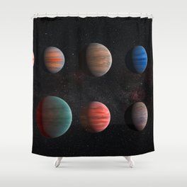 Planets : Hot Jupiter Exoplanets Shower Curtain