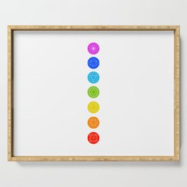Chakra symbols with respective colors- Spiritual gifts Serving Tray