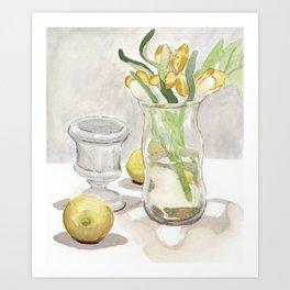 Flowers and Lemons Art Print