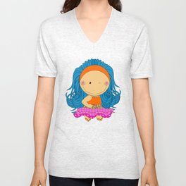 Happy Tuesday! - Fun, sweet, unique, creative and colorful, original,digital children illustration Unisex V-Neck