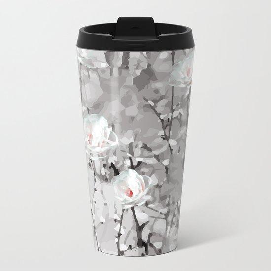 White Snow Flowers Metal Travel Mug