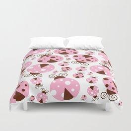 Ladybugs (Ladybirds, Lady Beetles) - Pink Brown Duvet Cover