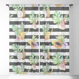 Tropical Fruits Black White Stripes Sheer Curtain