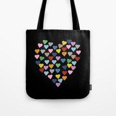 Hearts Heart Black Tote Bag
