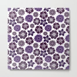 Violet Purple Pink Flowers Pattern Metal Print