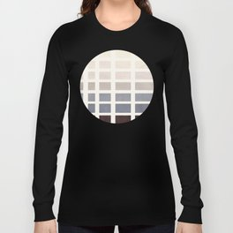 Watercolor Grey Minimalist Mid Century Modern Square Matrix Geometric Pattern Round Circle Long Sleeve T-shirt
