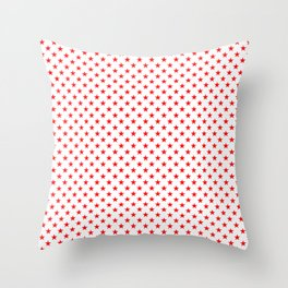 Christmas Holiday Red Stars on Snow White Throw Pillow