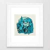 yeti Framed Art Prints featuring Yeti by Shelley Barnes